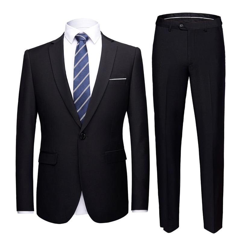 2 Piece Suit (Jacket+Pants) Black Men Wedding Suit Male Blazers Slim Fit Suits For Men Costume Business Formal Party Dress Suit