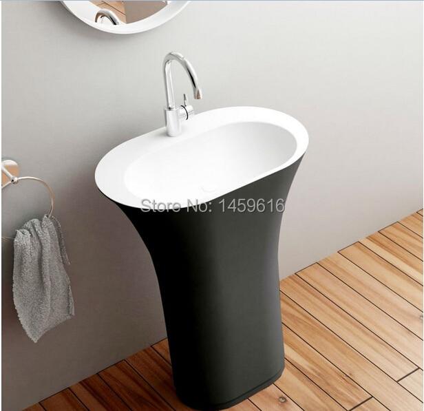 Salle de bain ovale piédestal lavabo solide Surface pierre vestiaire autoportant vanité évier extérieur noir intérieur blanc W9017