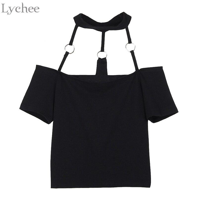Lychee Sexy Summer Women T-shirt Slash Neck Off Shoulder Halter Ring Short Sleeve T Shirt Tee Top