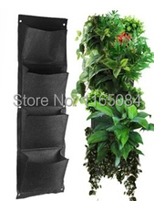 Novelty 4 Pockets Vertical Garden Planter Wall Mounted Polyester Home  Gardening Flower Planting Bags Living Indoor Wall Planter