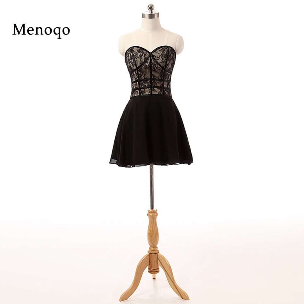 PRD442 Real Photo A line Lace Chiffon above knee mini short party wear 2019 Simple high fashion black   cocktail     dresses