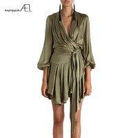 AEL Asymmetrical Fashion Satin Dress Silky Casual Club Lantern Sleeve V Neck Womens Clothing Bishop Elegant Bandage Dresses