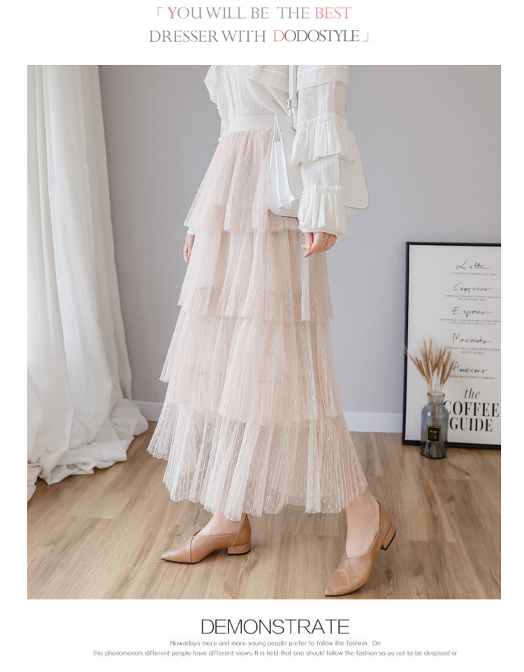 Fitaylor Spring New Sweet Cake Layered Long Mesh Skirts Princess High Waist Ruffled Vintage Tiered Tulle Pleated ins Skirts 5
