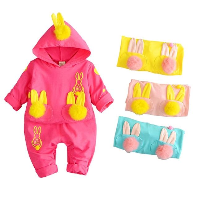 conjunto infantil Autumn Baby Girls Cotton Rabbit Shirts Hoodies + Pants Two Pieces Suits Newborn Toddler Kids Clothing sets
