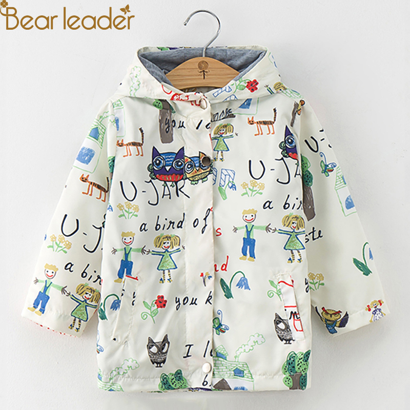 Bear Leader Girls Coats and Jackets Kids Autumn Brand Children Clothes Bird&Flowers Print Hooded Outerwear