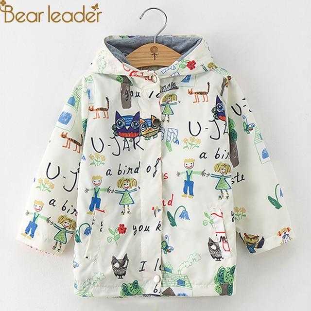 Bear Leader Girls Coats and Jackets Kids Autumn Brand Children Clothes Bird&Flowers Print Hooded Outerwear