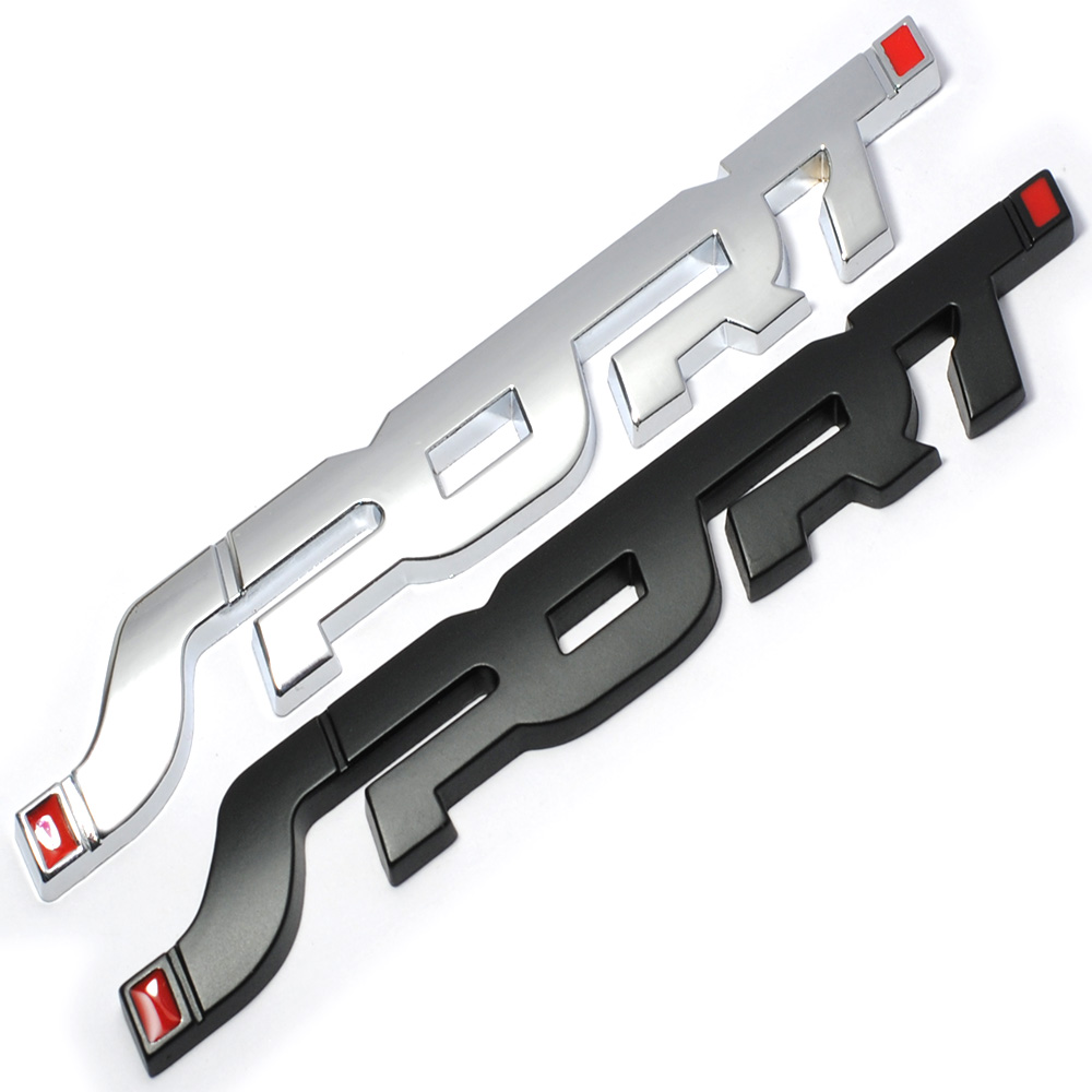 Metal 3D Chrome Silver / Black Auto Car Trunk Racing SPORT Word Letter Logo Emblem Badge Decal Sticker mayitr metal 3d black limited edition sticker universal car auto body emblem badge sticker decal chrome emblem car styling