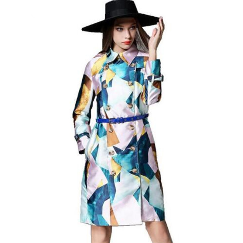 High Quality Autumn Women Overcoat 2017 Runway Double-Breasted Printed Slim Long Sleeve Pocket   Trench   Coat Windbreaker