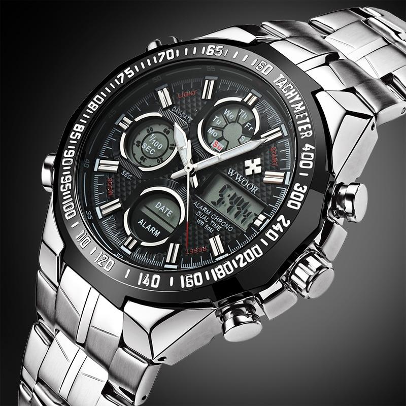남자 시계 브랜드 브랜드 럭셔리 남자 스포츠 석영 시계 LED 디지털 전체 철강 남자 군대 군사 방수 Relogio Masculino