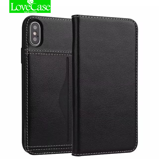 LoveCase Estilo Carteira de Couro Genuíno Real Virar Caso Capa Para o iphone X Casos Carteira de Cartão de Telefone Celular De Luxo Para o iphone 10 X sacos