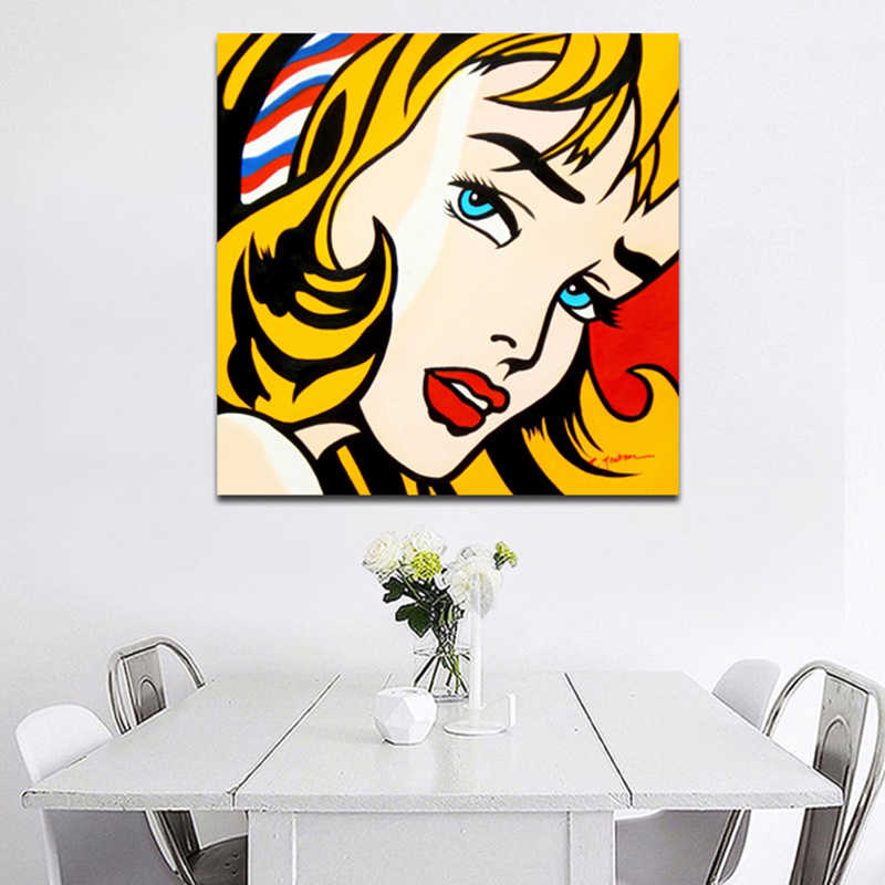 RELIABLI ART Roy Lichtenstein Pop Art Canvas Painting Abstract Art For Living Room Square Wall Pictures Canvas Prints No Frame