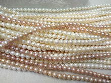AA full strand 16″ Natural Freshwater Cultured Pearl jewlery WHITE pink grey Round Beads June birthstone brides bridal Beads 3-1