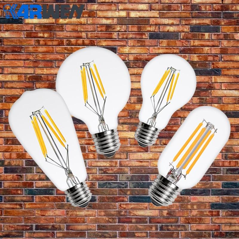 KARWEN LED Edison bulb E27 E14 Vintage LED Filament Light 220V 2W 4W 6W 8W ST64 G80 G95 T45 A60 Retro Filament lamp antique retro vintage led edison bombillas e27 led lamp 4w 6w 7w 8w e14 filament light 220v glass bulb 240v g80 t300 st64 lampen