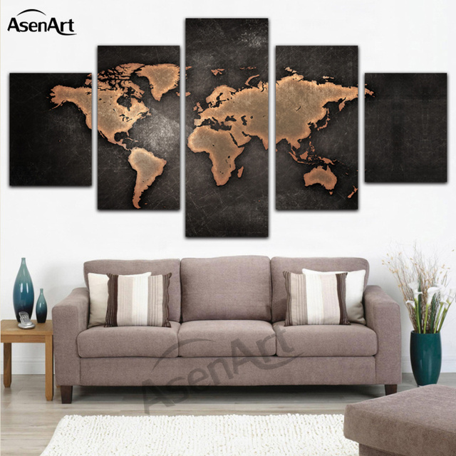 5 Panel Canvas Art World Map Painting Prints on Canvas Wall Art ...