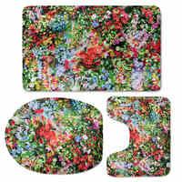 HUGSIDEA Beautiful Flower 3D Printing Toilet Seat Cover Bathroom Ground Mat Anti Slip Rugs Decorate Soft Carpet Three Piece Set