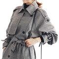2016 primavera outono trincheira manteau femme casaco comprido para as mulheres elegante xadrez Double Breasted Windbreaker Casacos Sobretudo Casaco