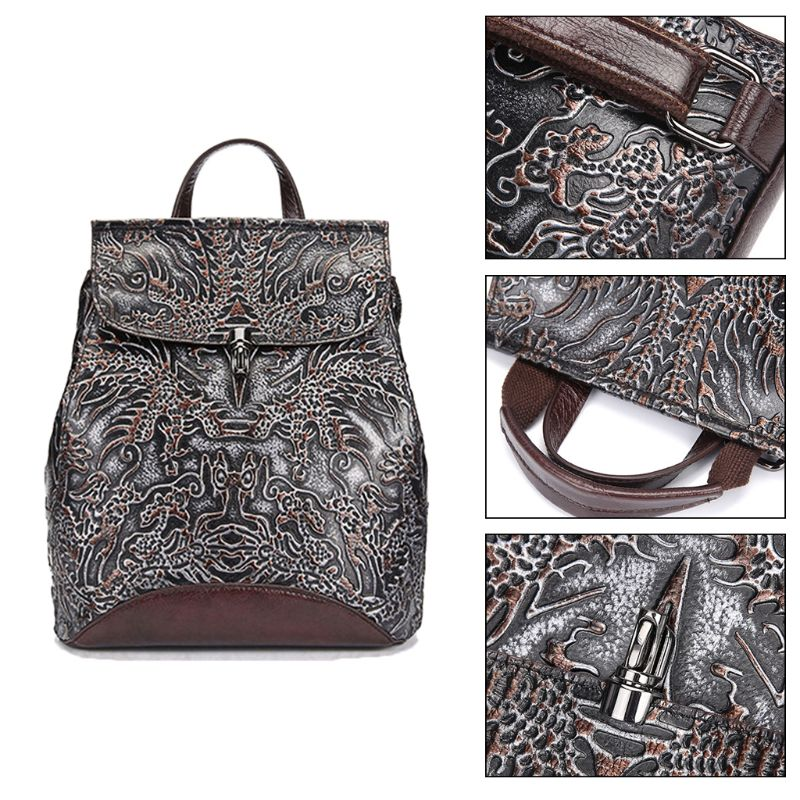 Women Genuine Leather Embossed Backpack National Style Daypack School Bag Travel Casual RucksackWomen Genuine Leather Embossed Backpack National Style Daypack School Bag Travel Casual Rucksack