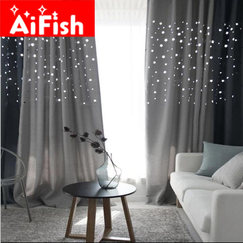 Korean Hollow Stars Thick Shade Curtain For The Living Room Navy Blue Grey  Coffee And Beige
