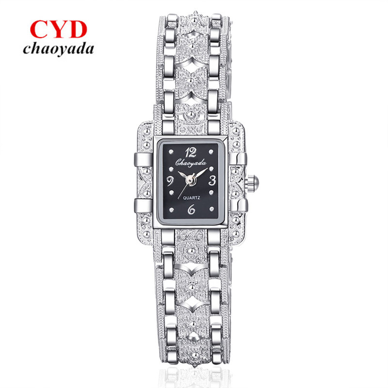New Vintage Watch Women Ladies Royal Fashion Square Dial Silver Stainless Steel Casual Bracelet Rhinestone Watches Mujer Relojes 6 colors fashion rhinestone women jewelry watch vintage square mini dial bracelet fancy wrist watch for ladies gifts ll
