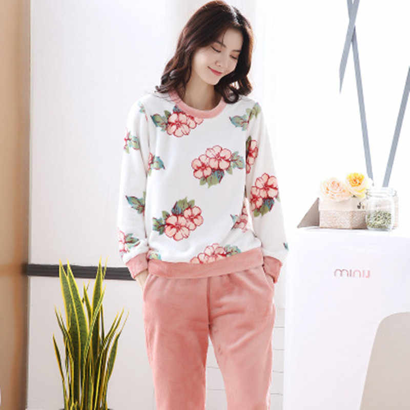 3e507036a8 Winter Female Pajama Polyester Full Trousers Lady Two Piece Pajama Set  Print Home Clothing Women s Flannel