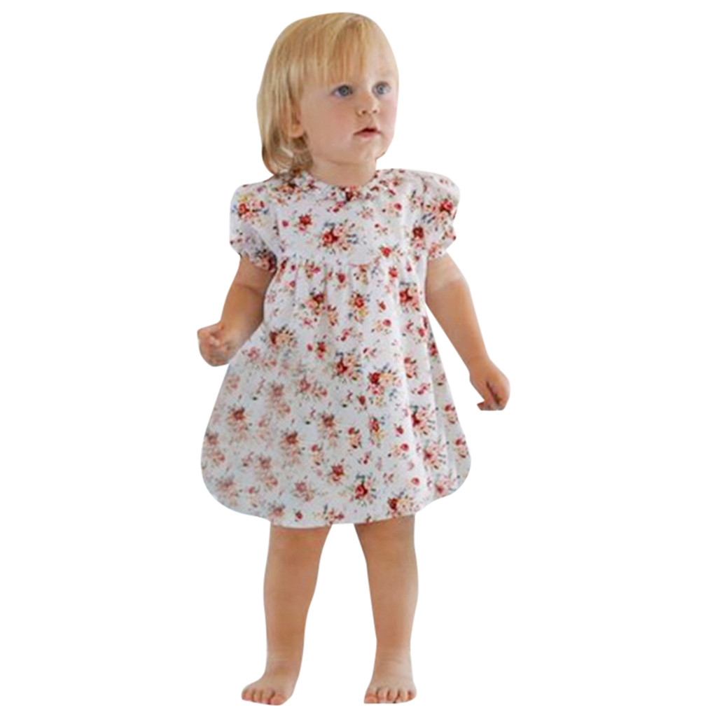 Princess Clothes Sundress Baby Girls Dresses Crown One Print Party Dress Floral