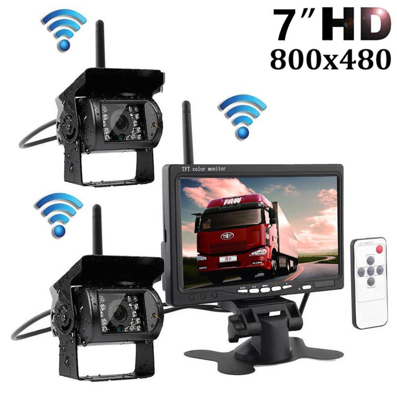 Wireless HD 7 LCD Color TFT Monitor+ Night Vision Infrared Weatherproof Rearview Backup Rear View Camera RV Truck Trailer Bus 7 car wireless foldable tft lcd monitor with rear view infrared night vision backup camera reverse parking cam for truck bus