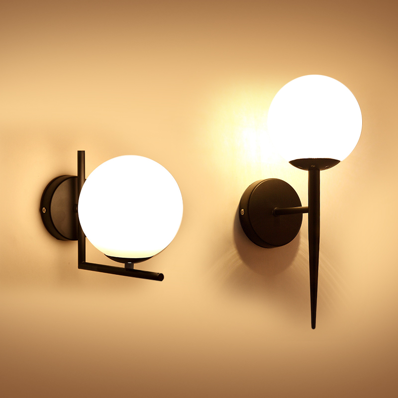 Us 18 99 25 Off Modern Style E27 Led Wall Lamps Nordic Gl Ball Lights For Page Corridor Bedroom Bedside Lamp Sconces Ac85 265v In