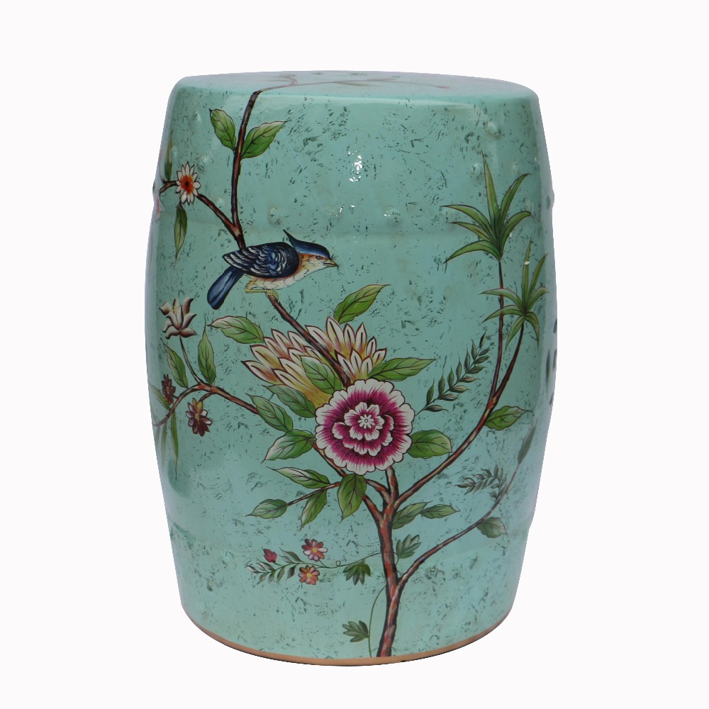 Indoor furniture chinese ceramic garden stool H18inches with flower and bird design