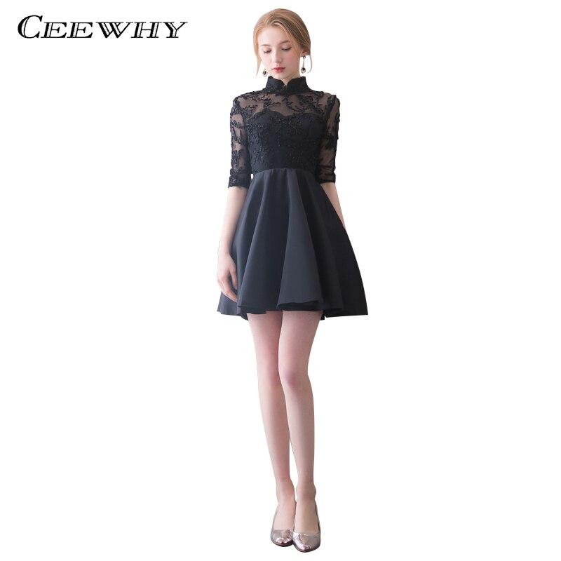 CEEWHY Half Sleeve High Collar Short Black Prom Dress Elegant Mini Formal Party Dress Vintage Vestido Cocktail Dresses