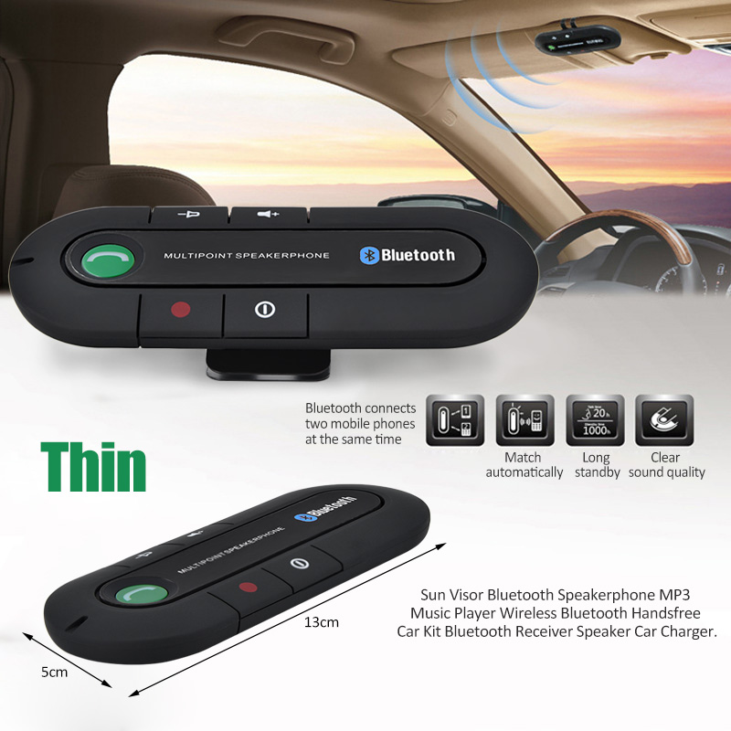 Bluetooth Car Kit Speakerphone Handsfree Wireless Speaker Phone Mic for Mobile Phone BT850
