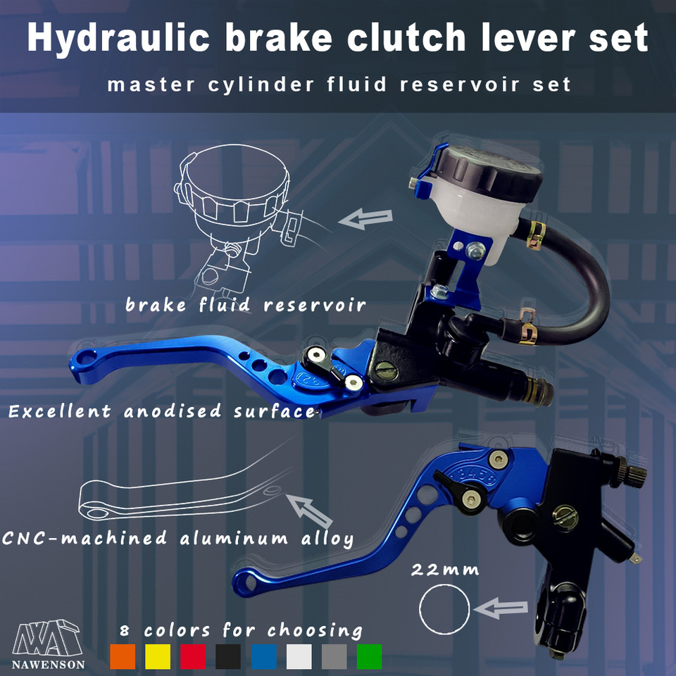Blue 22mm Universal Motorcycle Brake Clutch Master Cylinder Lever Set Motorcycle Brake Lever Master Cylinder 1 Pair 7//8