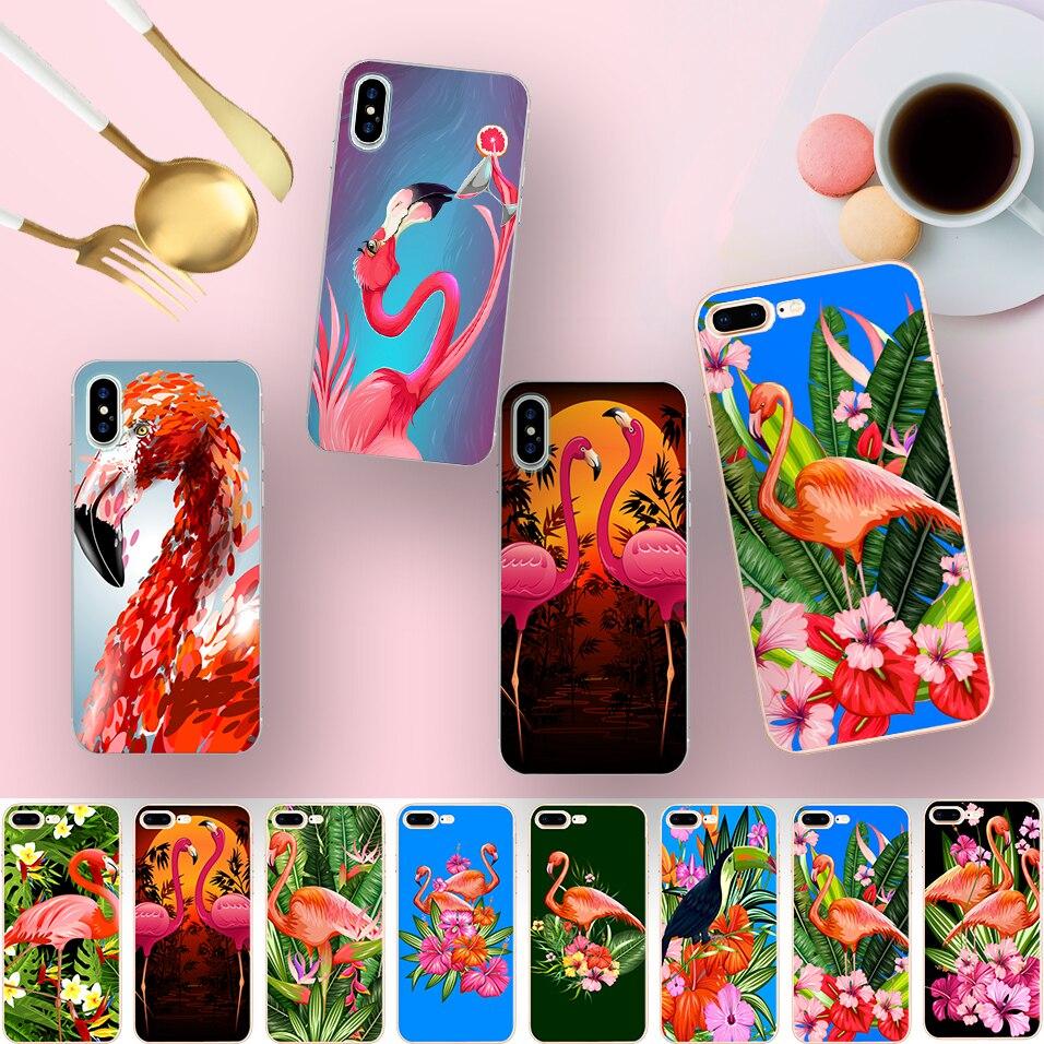 Minason Забавные милые птицы фламинго мягкие прозрачные силиконовые оснащен телефон чехол для iPhone 10 5 s 5S SE 6 6 S 7 8 Plus X Чехол Коке