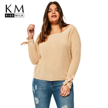 Kissmilk 2018Plus Size Solid Lace Up Women Sweaters Large Size O-neck Long Sleeve Female Pullovers Big Size Casual Lady Clothing new and original printhead print head for printer wf 7018 wf 7015 wf 7512 wf 7011 wf 7010 printhead print head sprayer