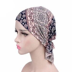 Image 4 - חדש מוסלמי נשים פרחוני למתוח כותנה צעיף טורבן כובע חמו בימס כובעי ראש גלישת בארה לסרטן שיער אובדן אביזרים