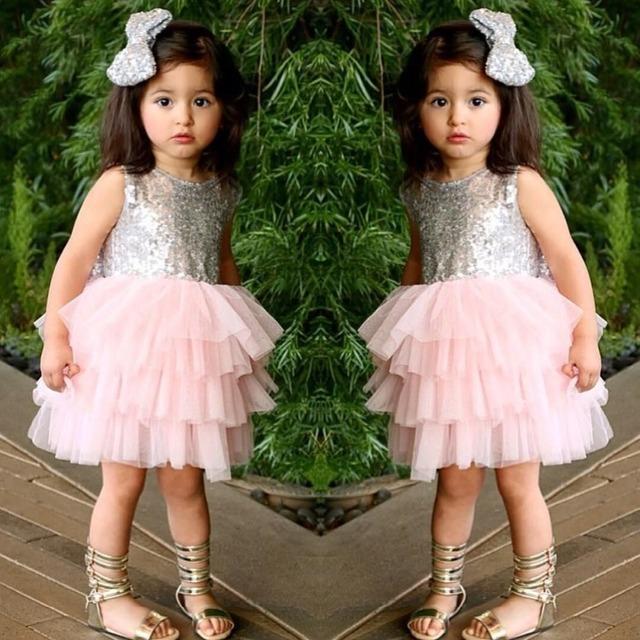 Ccsme dhl niños niñas niños gasa doble arcos tiers holiday wedding party tutu dress prom sparkle seuqin desgaste