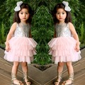 EMS DHL Free Shipping toddlers Girls Children Gauze Double Bows Tiers tutu Party Dress Prom Seuqin Sparkle Holiday Wedding wear