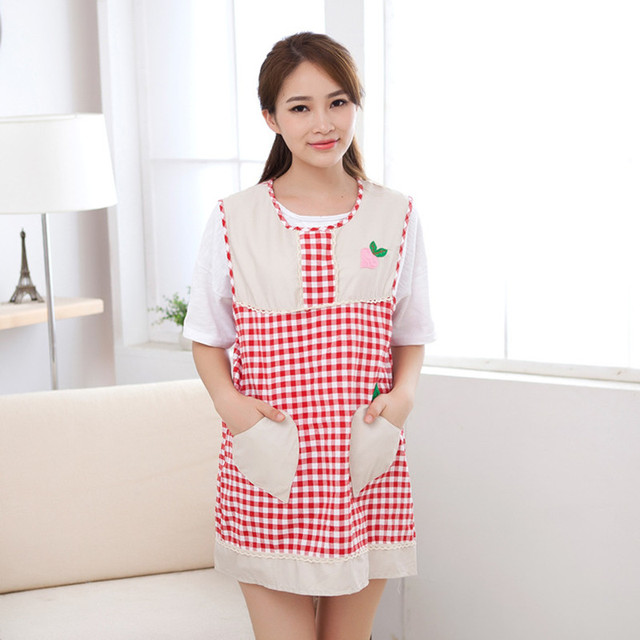 Sleeveless Cotton Embroidery Gird Lovely Cute Aprons for Women Waiter Apron With Pocket Overalls Smock Kitchen Accessories Tools