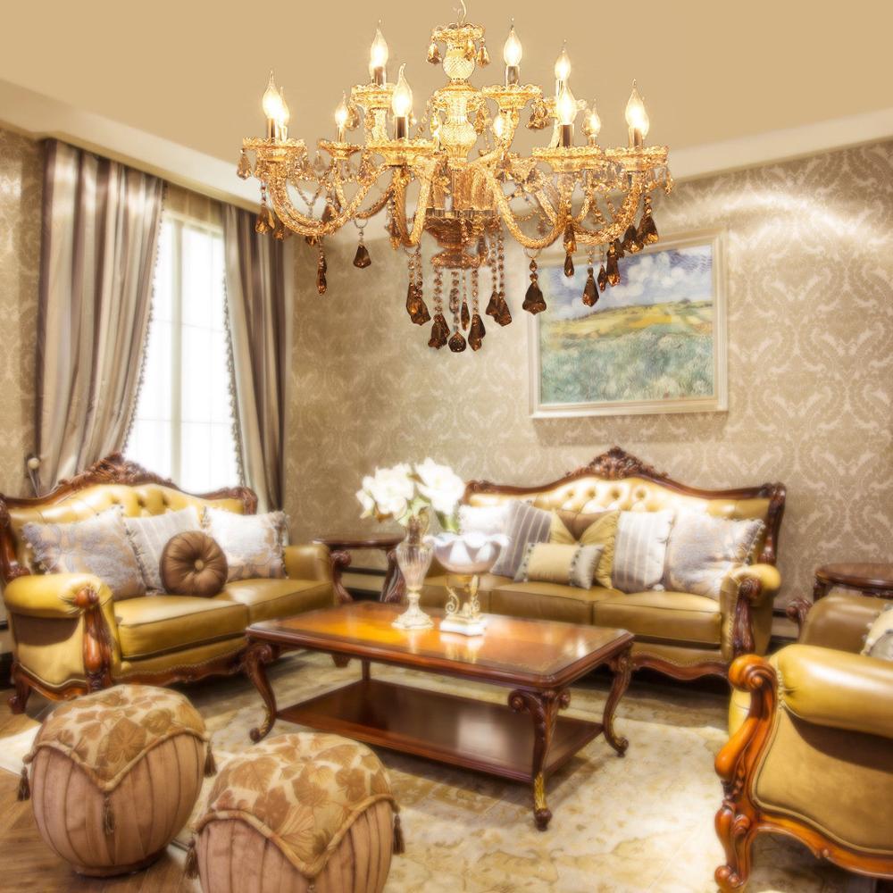 Home 15 Arms Crystal Cut Glass Large Chandelier Pendant Ceiling Cognac Light E14
