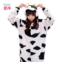 Onesie Animal Cows Onesie Adult Unisex Pajamas Costume Warm Flannel Siamese Cartoon Sleepwear Autumn Winter Pajamas