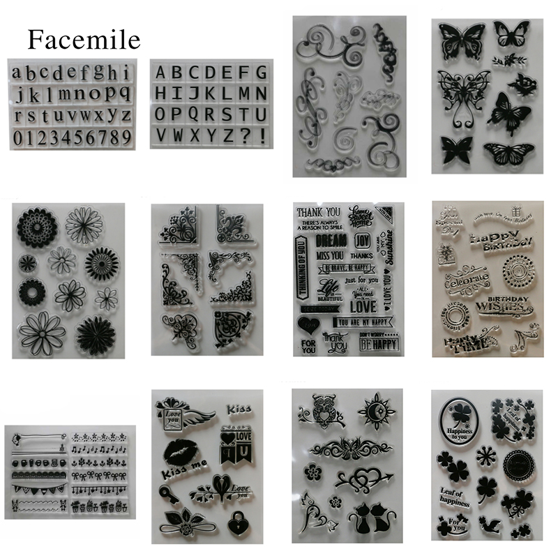 Facemile Silicone Transparent Rubber Stamp Set Letters Animal For DIY Scrapbooking Card Making Decoration Supplies цифровая камера other great create lisa pavelka rubber stamp set exotique strip