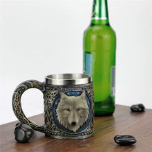 3D Wolf King Head Pattern Mug Retro Resin Stainless Steel Coffee Tea mugs Home Water Cups Creative Gift Bronze Monster Cup 5.2(China)