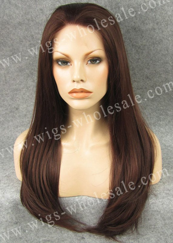 ФОТО By DHL long  straight  auburn synthetic braided lace front wigs 24