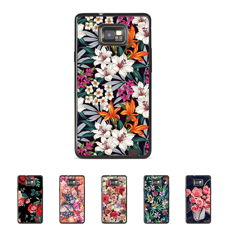 For Samsung I9100 Galaxy S II S2 Case Flower Rose Mobile Phone Cover Bag Cellphone Housing Shell Skin Mask DIY Customize Case