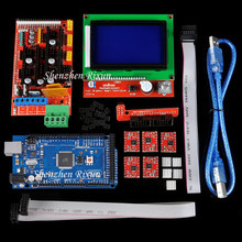 цена на Mega 2560 R3 Mega2560 Board + RAMPS 1.4 + LCD 12864 Controller + A4988 Stepper Motor Driver For Arduino RepRap 3D Printer Kit