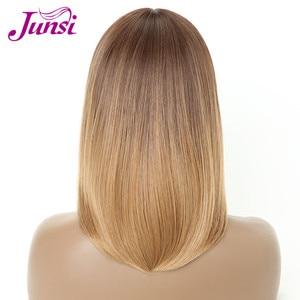 Image 4 - JUNSI ショートブラウングラデーション黄金かつらボブ髪型ストレート合成女性のかつら前髪 16 インチブラウン黒かつら