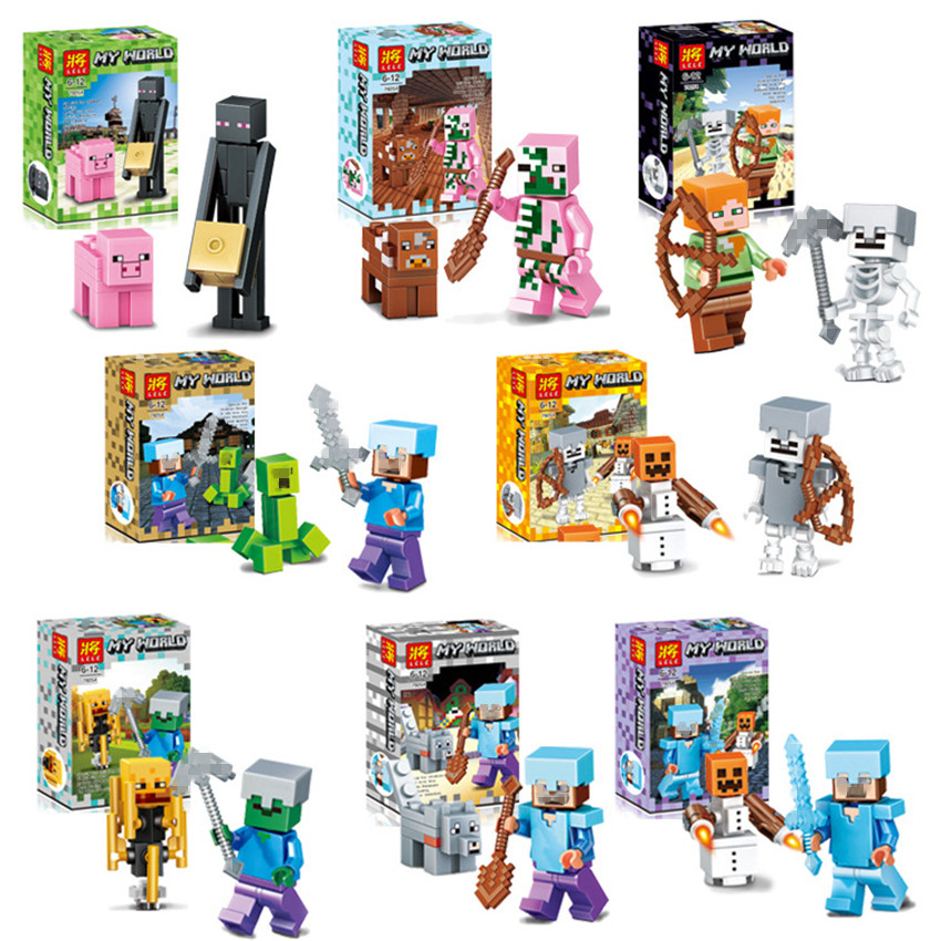 8set/lot Minecraft Steve Block Toys Mini Model Game Juguetes Action Figures Safe ABS Gifts for Children Brinquedos #E new smith minecraft arrow action figure toy pixel mosaic bow and arrow assembled set of juguetes anti stress toys for kids