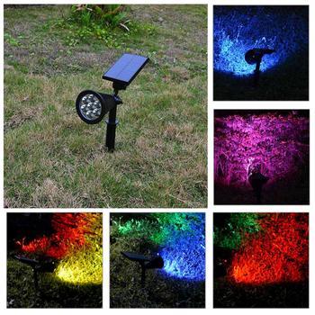 LED Năng Lượng Mặt Trời Ánh Sáng ABS Không Thấm Nước IP65 7 LED Màu Sắc Thay Đổi Năng Lượng Mặt Trời Power Vườn Đèn Spotlight Bãi Cỏ Cảnh Quan Ngoài Trời Giáng Sinh Trang Trí Nội Thất