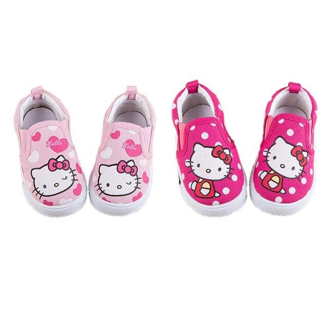 Мультфильм милый детская обувь hello kitty новорожденных причинно плоским холст обувь для infantil bebe 9M-3yrs причинные уличной обуви горячей продажи