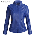 Mulheres da moda jaqueta tamanho grande pu jaquetas de couro feminina azul cor 2016 outono short slim casacos jaquetas mulher coréia do sexo feminino YF087