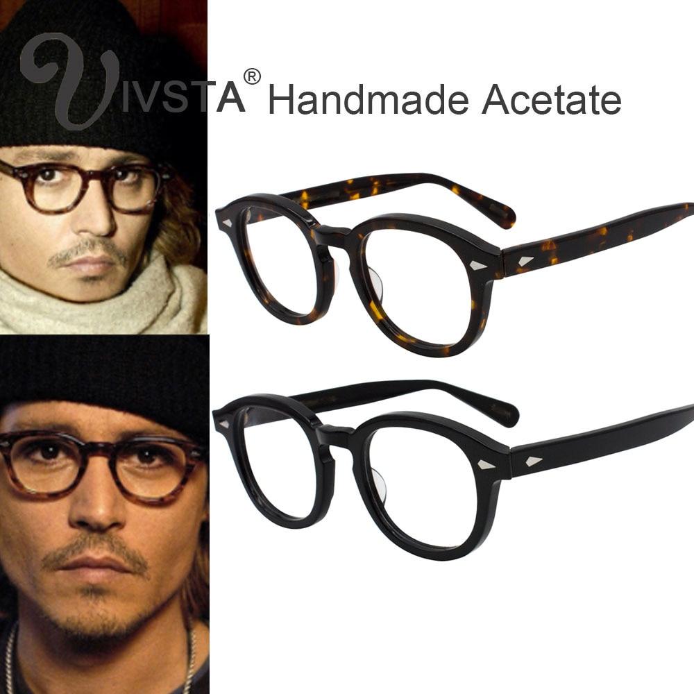 IVSTA mit Logo Handgemachte Acetat Rahmen Frauen Johnny Depp Gläser Männer Marke Designer Schildkröte Optische Spektakel Demi Myopie